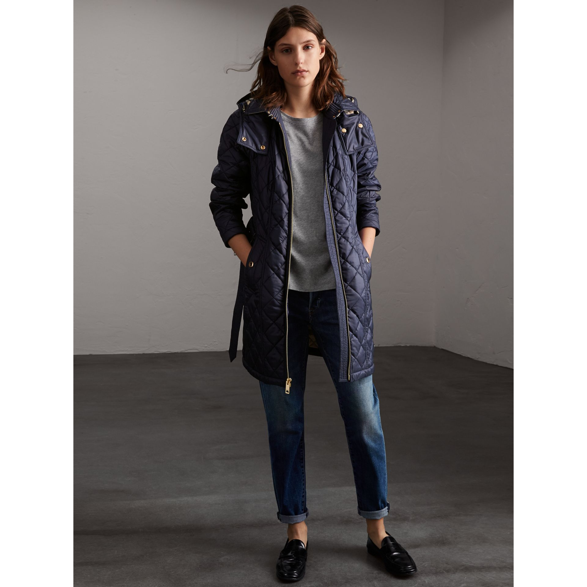 Detachable Hood Quilted Showerproof Parka in Ink - gallery image 5