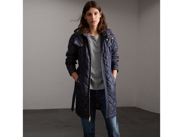Detachable Hood Quilted Showerproof Parka in Ink - cell image 4