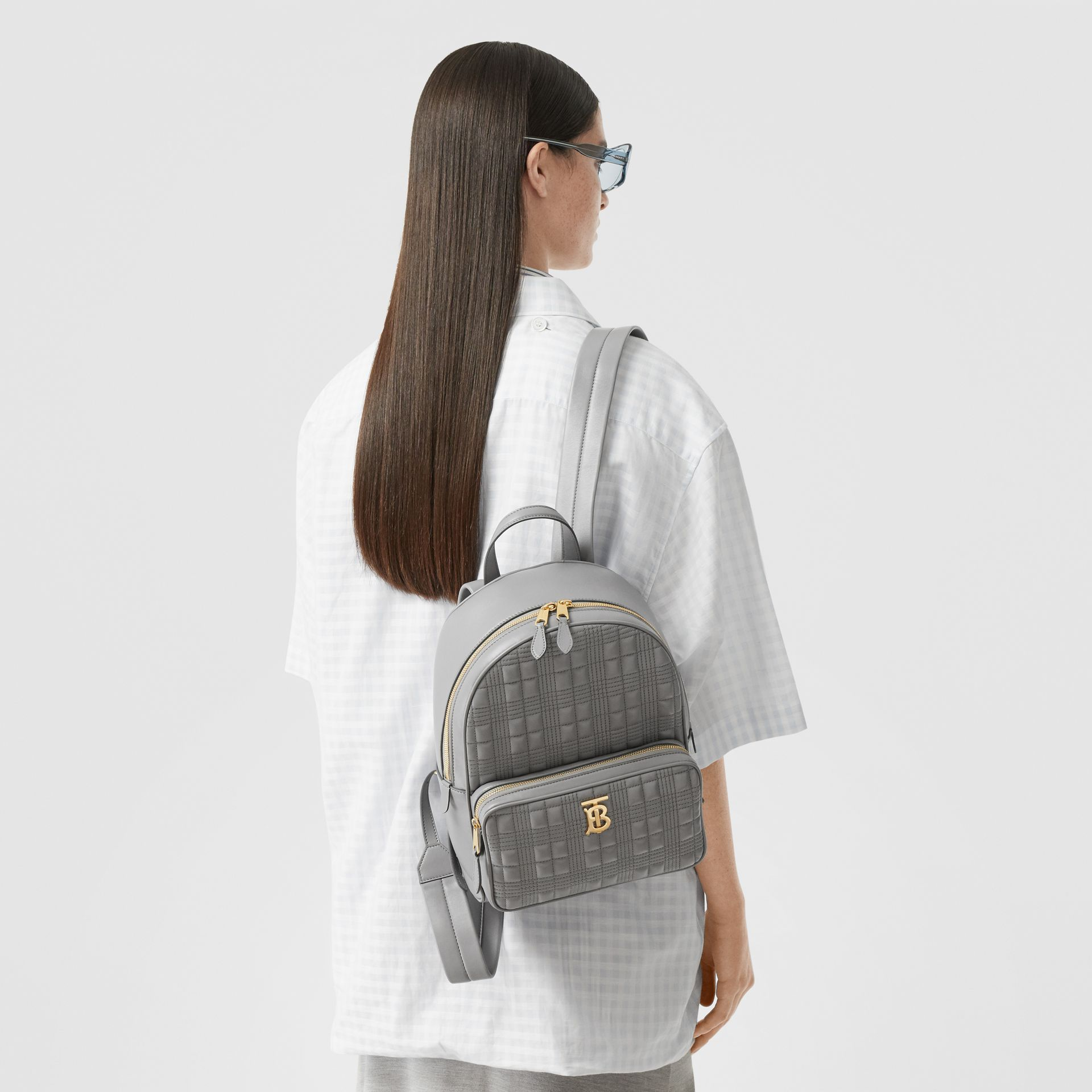 Quilted Lambskin Backpack in Cloud Grey - Women | Burberry United States - gallery image 2
