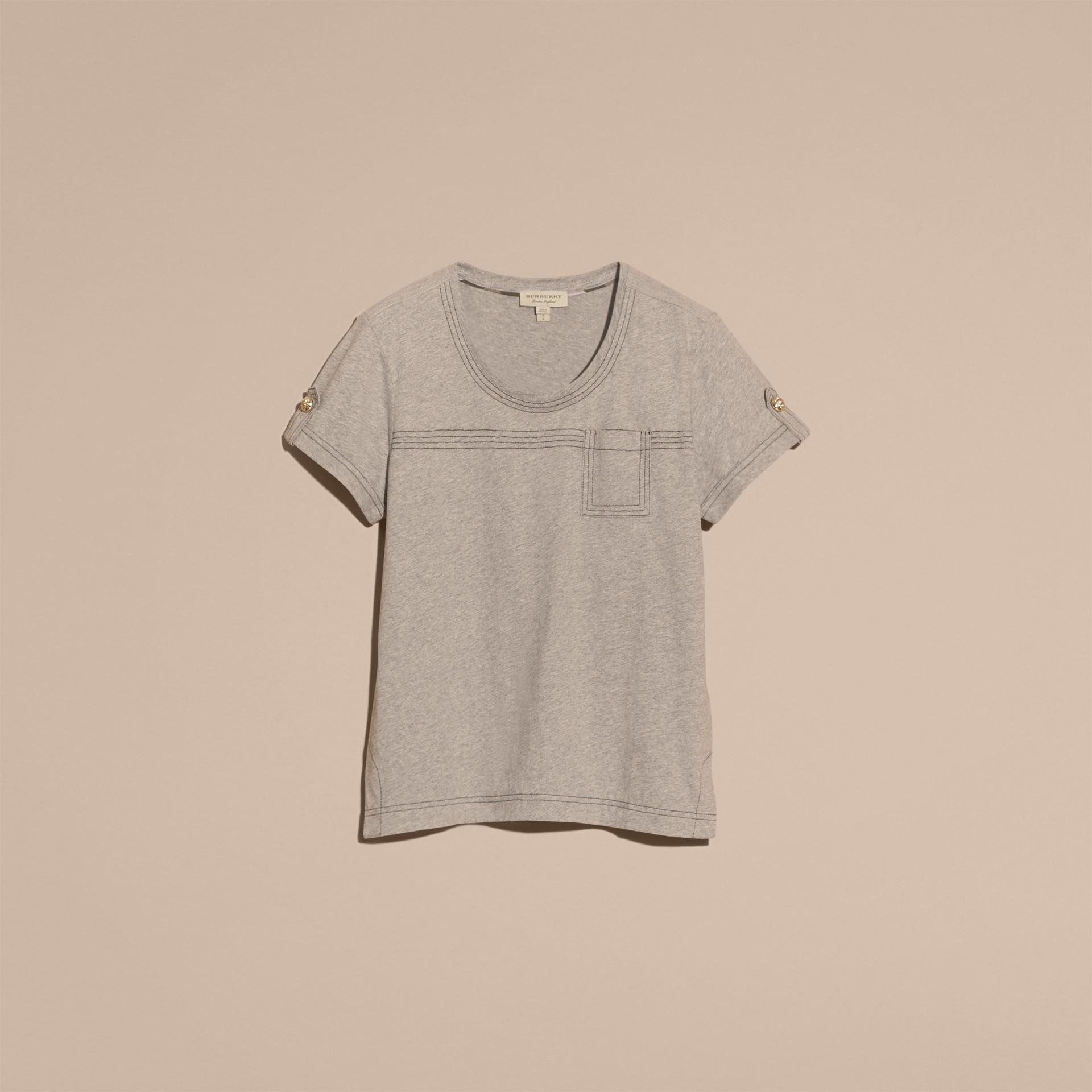 Pale grey melange Topstitch Detail Cotton T-shirt Pale Grey Melange - gallery image 4