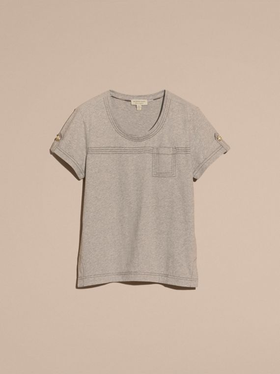 Pale grey melange Topstitch Detail Cotton T-shirt Pale Grey Melange - cell image 3