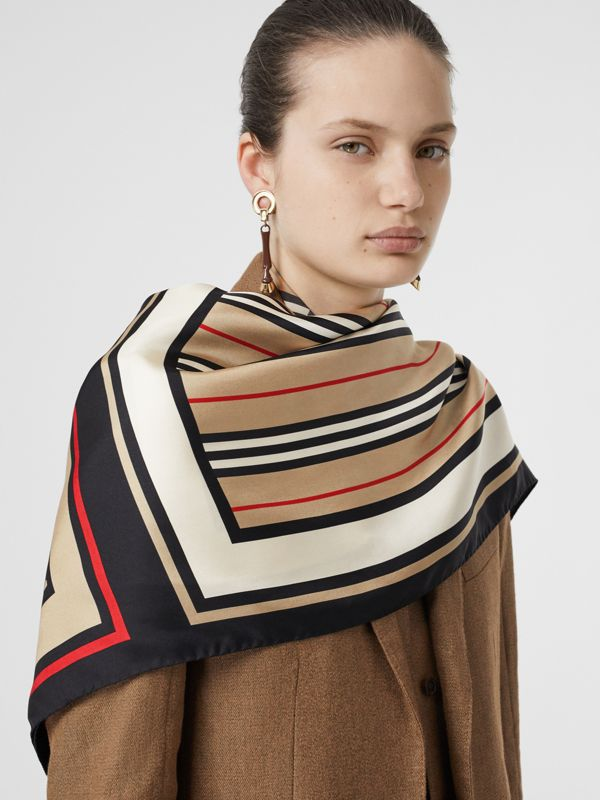Monogram, Icon Stripe and Check Print Silk Scarf in Archive Beige | Burberry United Kingdom - cell image 2