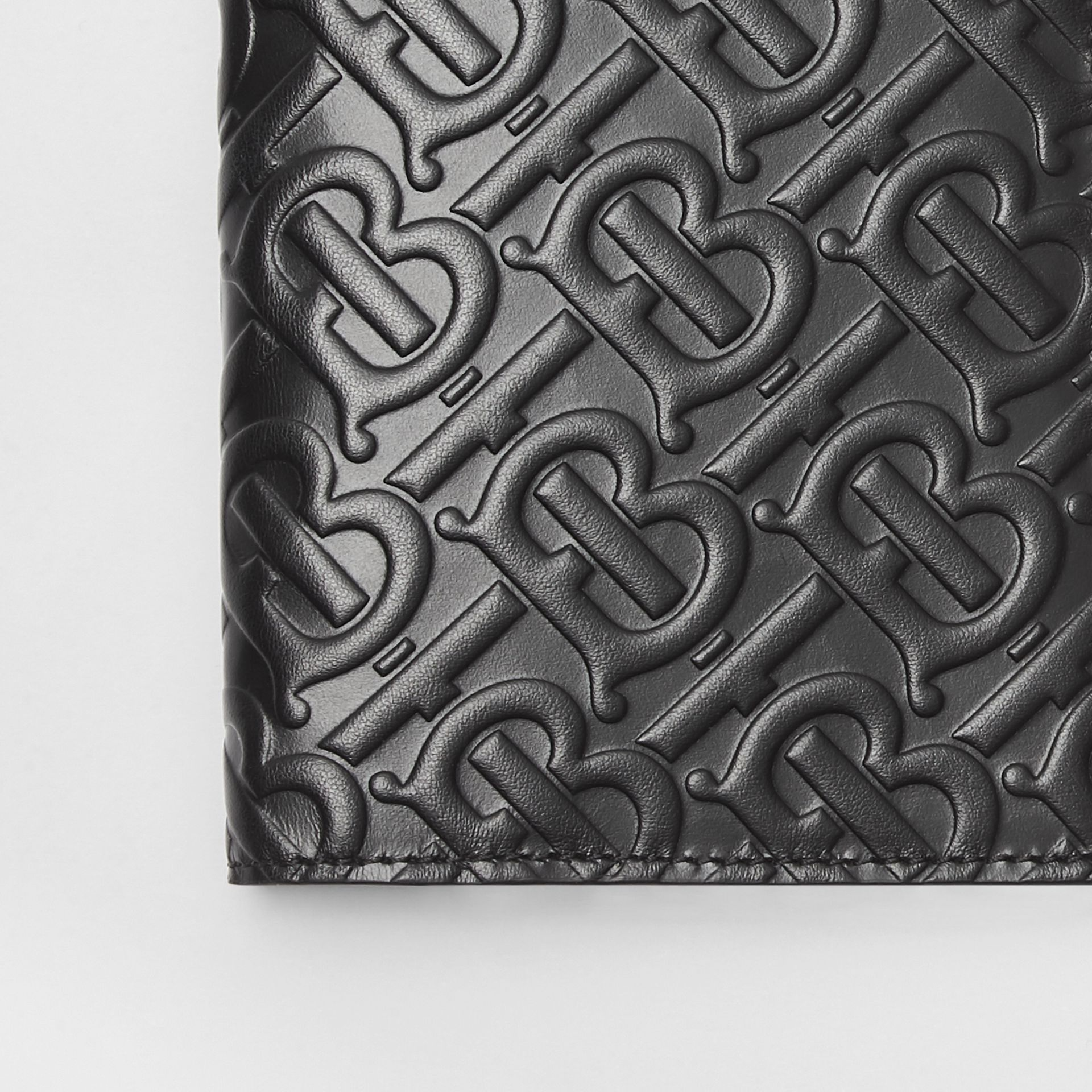 Monogram Leather Passport Holder in Black - Men | Burberry - gallery image 1