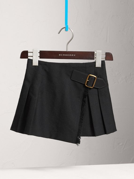 Raw Edge Detail Wool Kilt in Black - Girl | Burberry - cell image 2