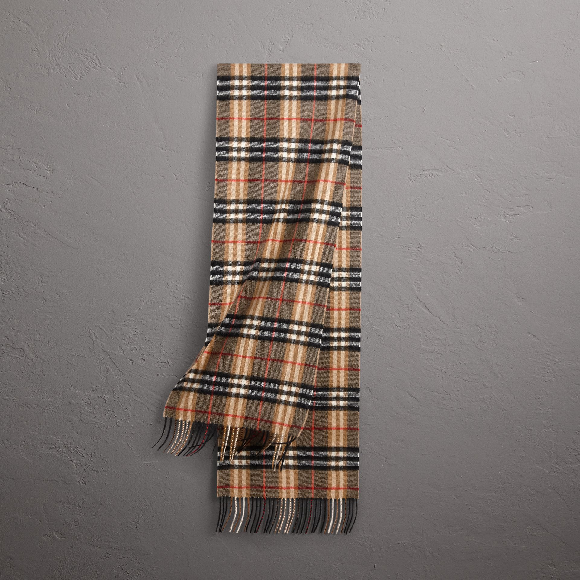 Check Cashmere Scarf in Camel | Burberry Singapore - gallery image 0