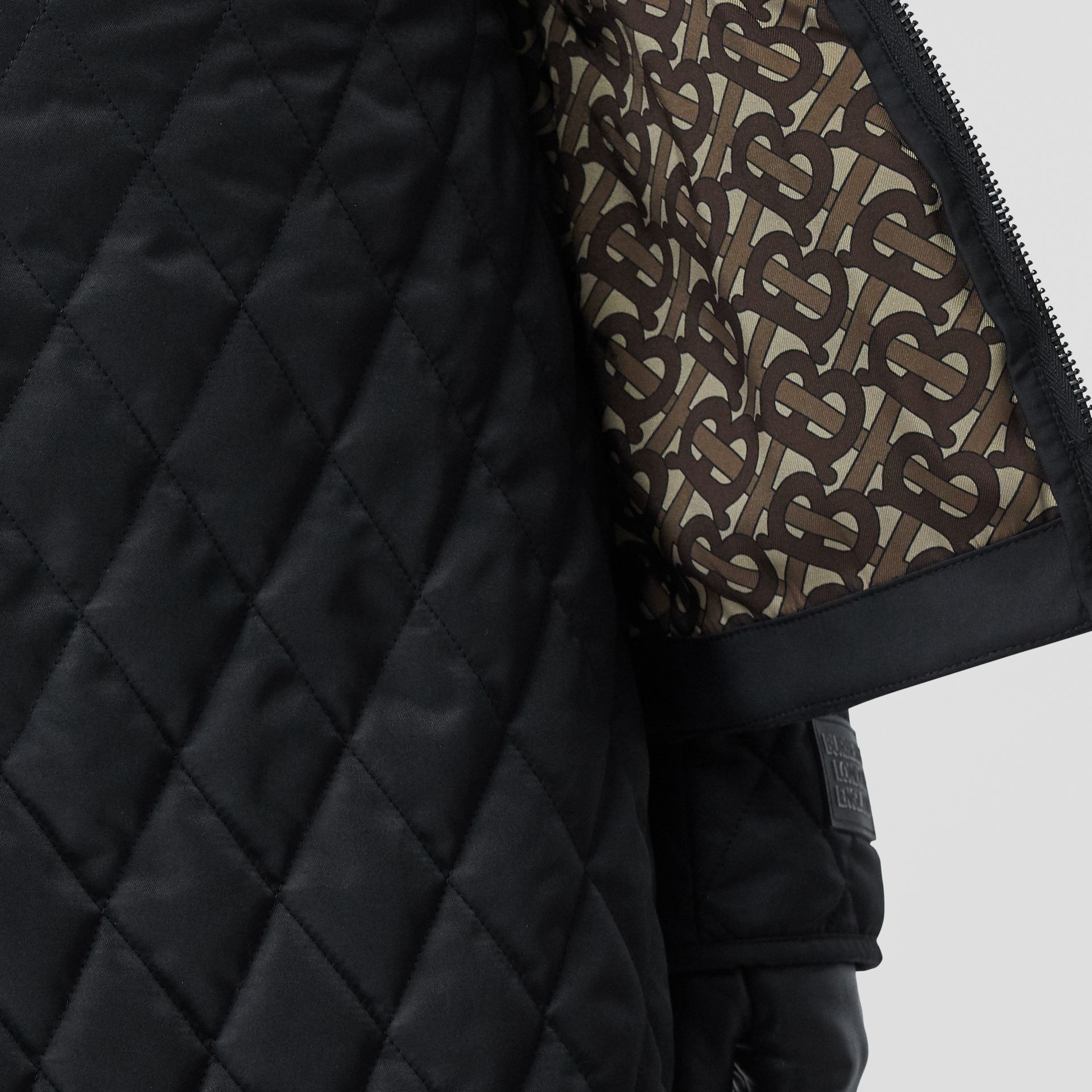 Rib Knit Panel Diamond Quilted Barn Jacket in Black - Women | Burberry United Kingdom - gallery image 5