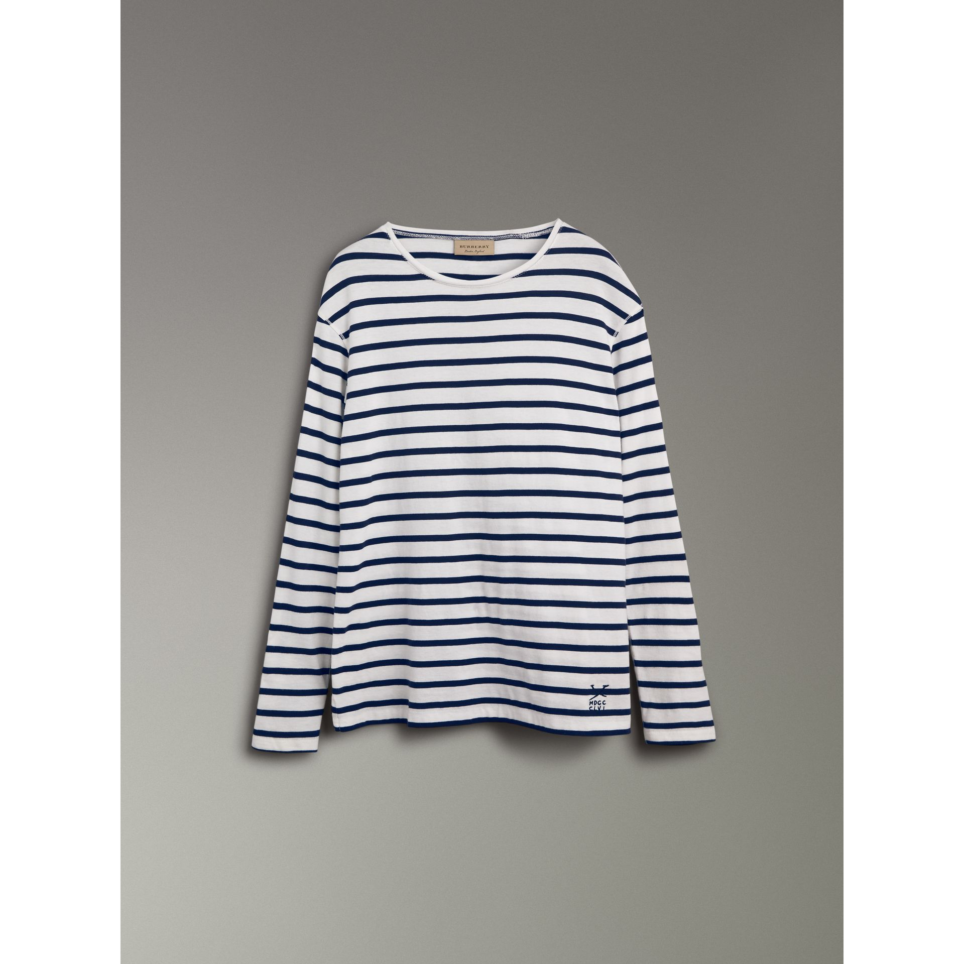 Breton Stripe Cotton Jersey Top in White/blue - Men | Burberry - gallery image 3