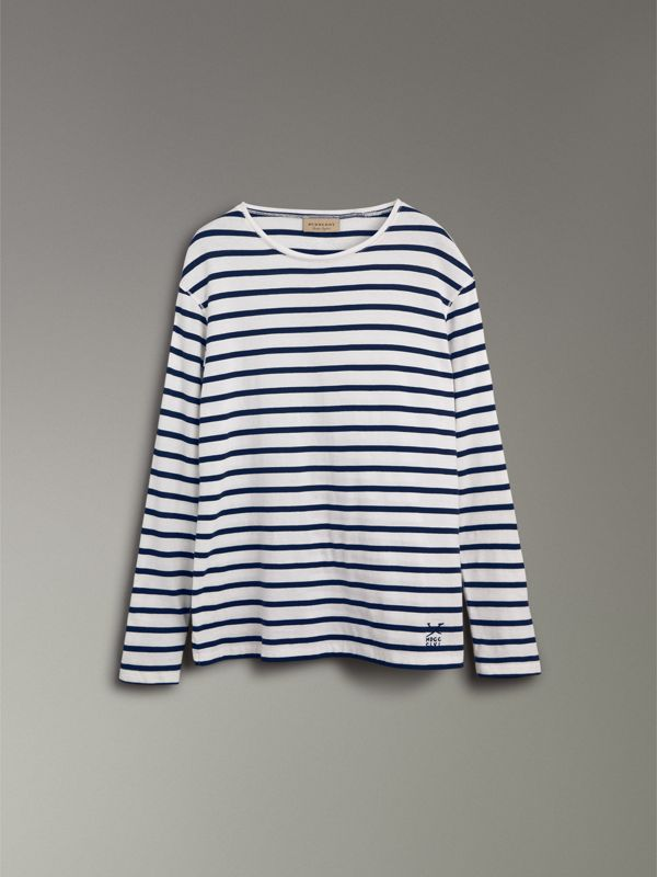 Breton Stripe Cotton Jersey Top in White/blue - Men | Burberry - cell image 3