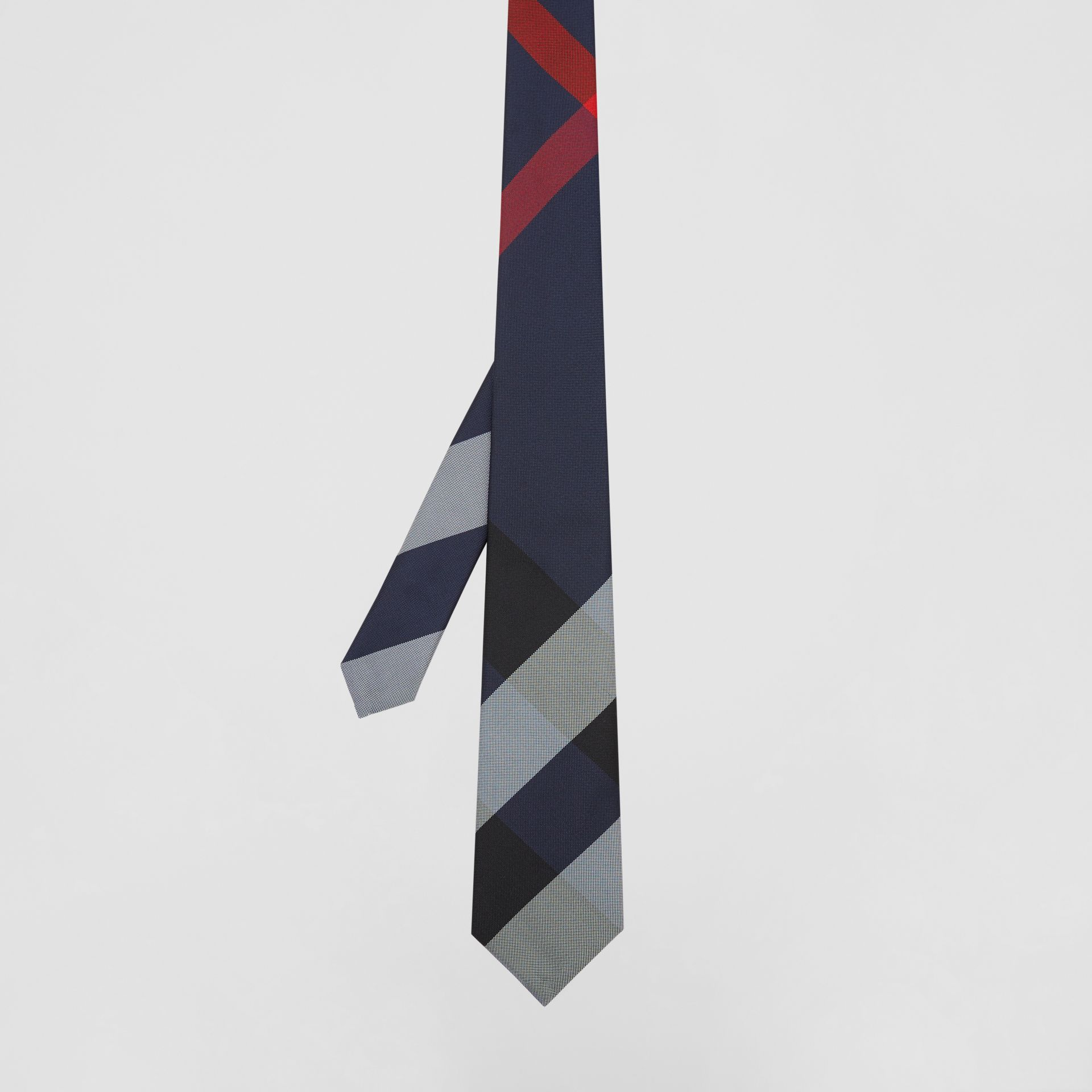 Modern Cut Oversized Check Silk Tie in Navy - Men | Burberry - gallery image 4