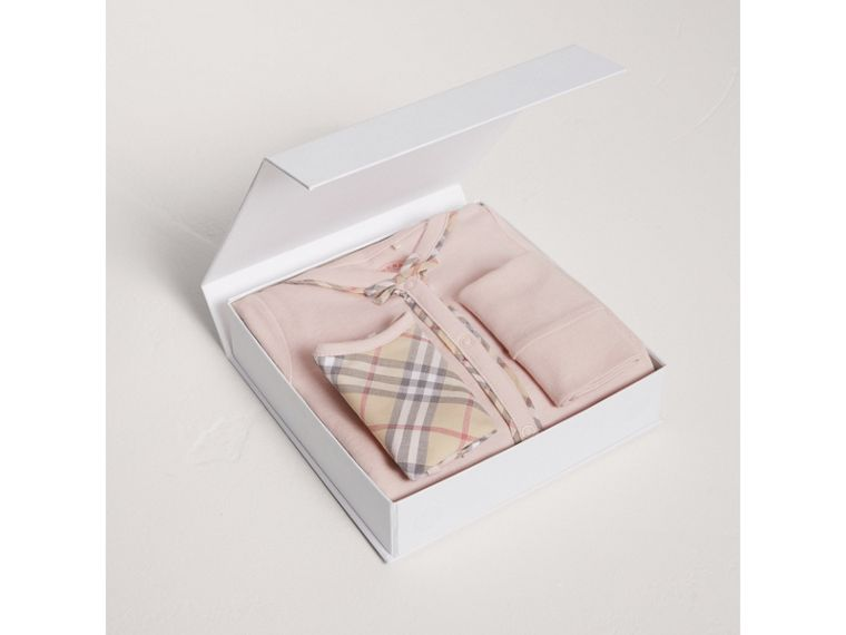 Check Cotton Three-piece Baby Gift Set in Powder Pink - Girl | Burberry - cell image 2