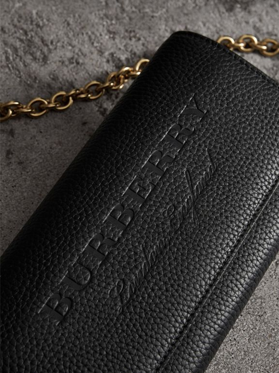 Embossed Leather Wallet with Chain in Black - Women | Burberry Australia - cell image 1