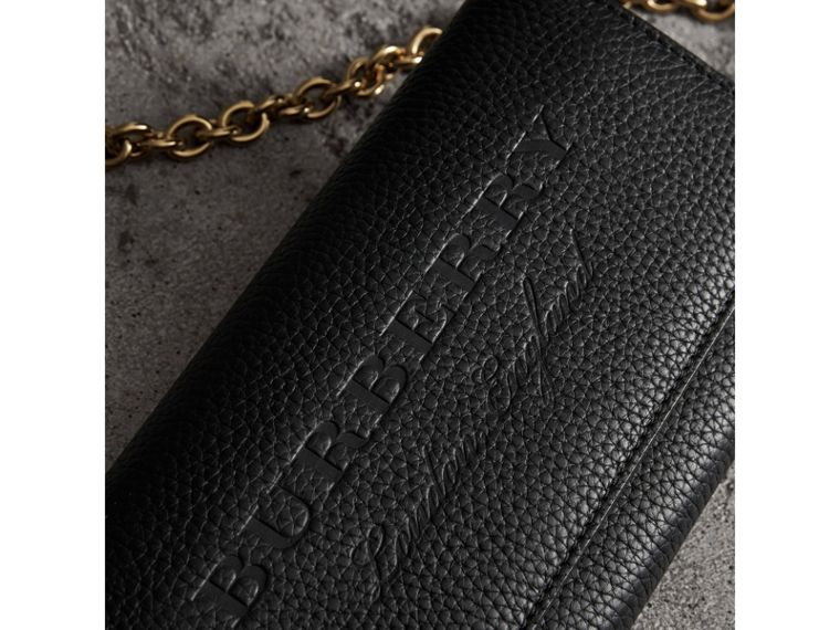 Embossed Leather Wallet with Chain in Black - Women | Burberry United States - cell image 1