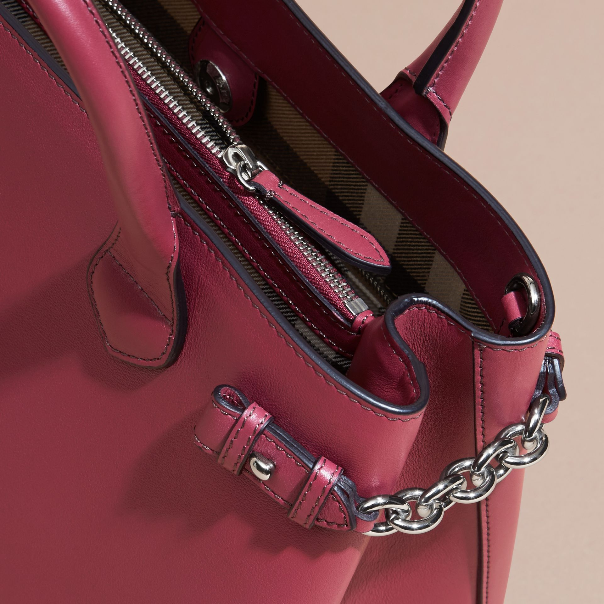 The Medium Banner in Leather with Chain Detail in Garnet Pink - gallery image 5