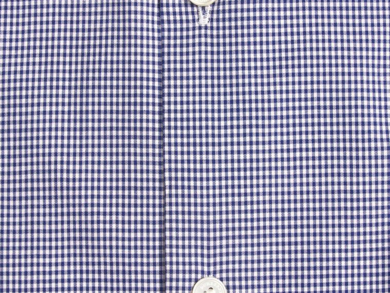 Dark empire blue Modern Fit Button-down Collar Gingham Cotton Poplin Shirt - cell image 1