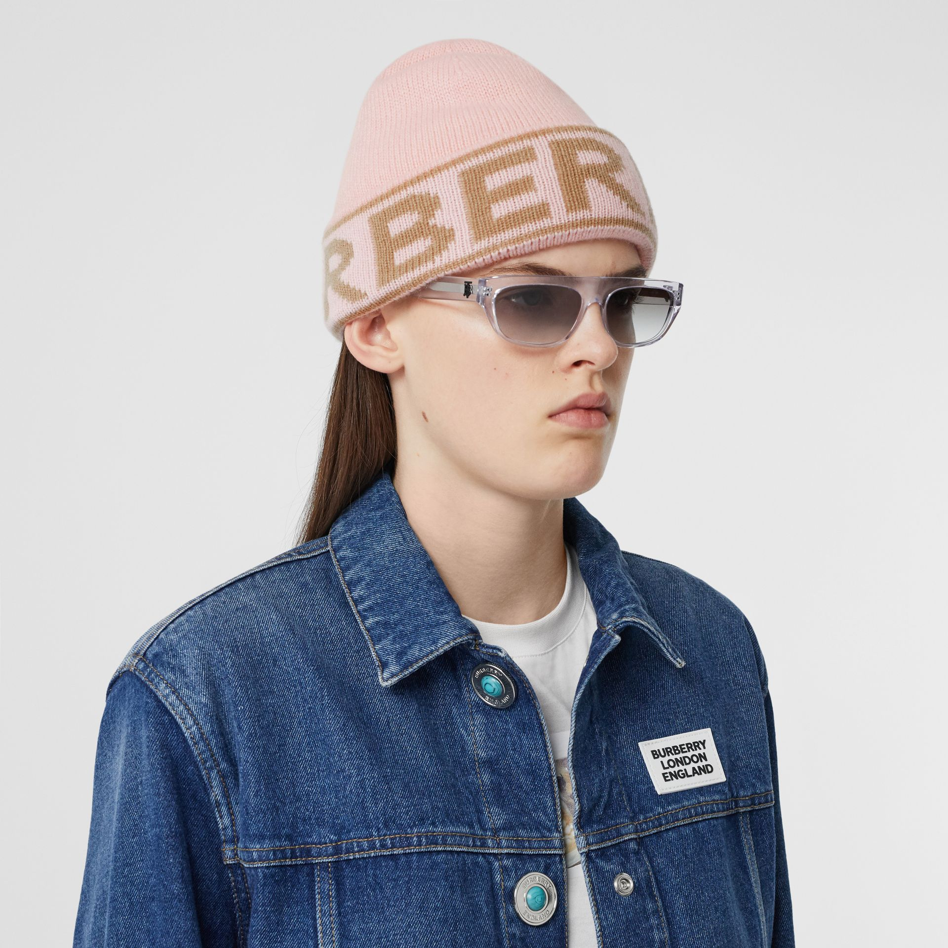 Logo Intarsia Cashmere Beanie in Candy Pink | Burberry - gallery image 2