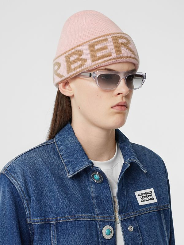Logo Intarsia Cashmere Beanie in Candy Pink | Burberry - cell image 2