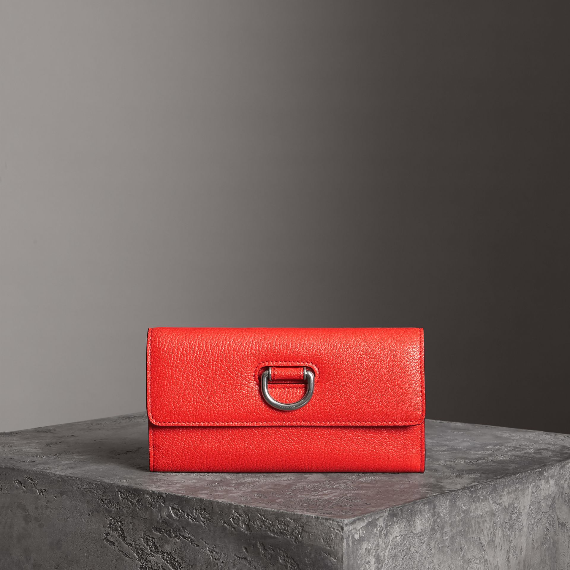 D-ring Grainy Leather Continental Wallet in Bright Red - Women | Burberry - gallery image 0