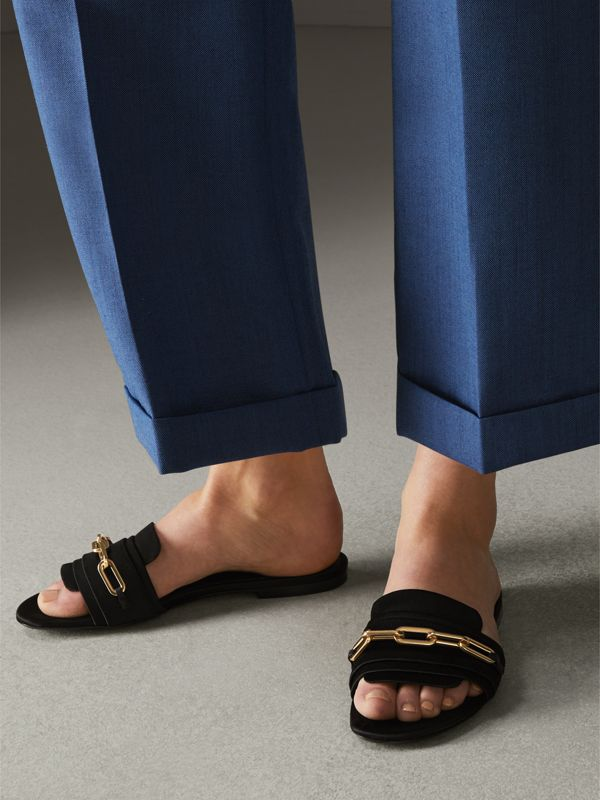 Link Detail Satin and Leather Slides in Black - Women | Burberry - cell image 2