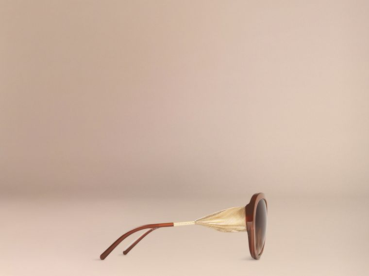 Oversize Round Frame Sunglasses in Fawn Pink - Women | Burberry - cell image 4