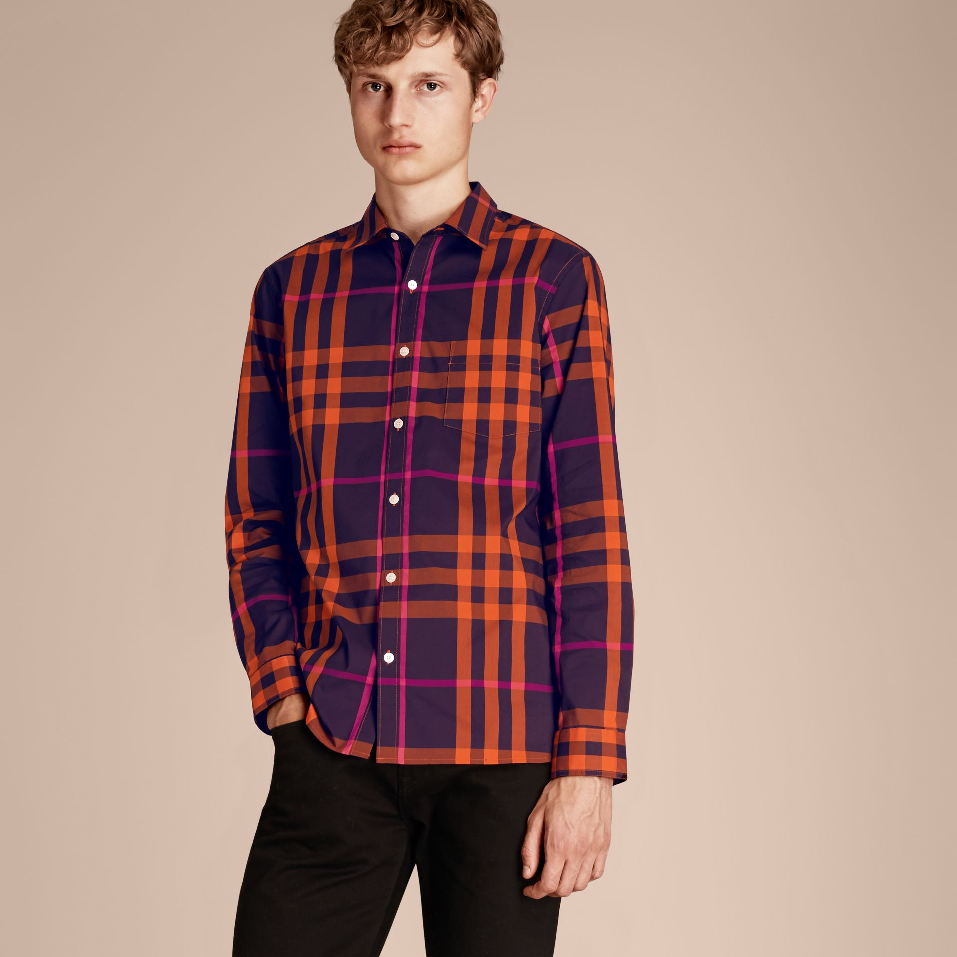 Check Stretch Cotton Shirt Clementine - gallery image 6
