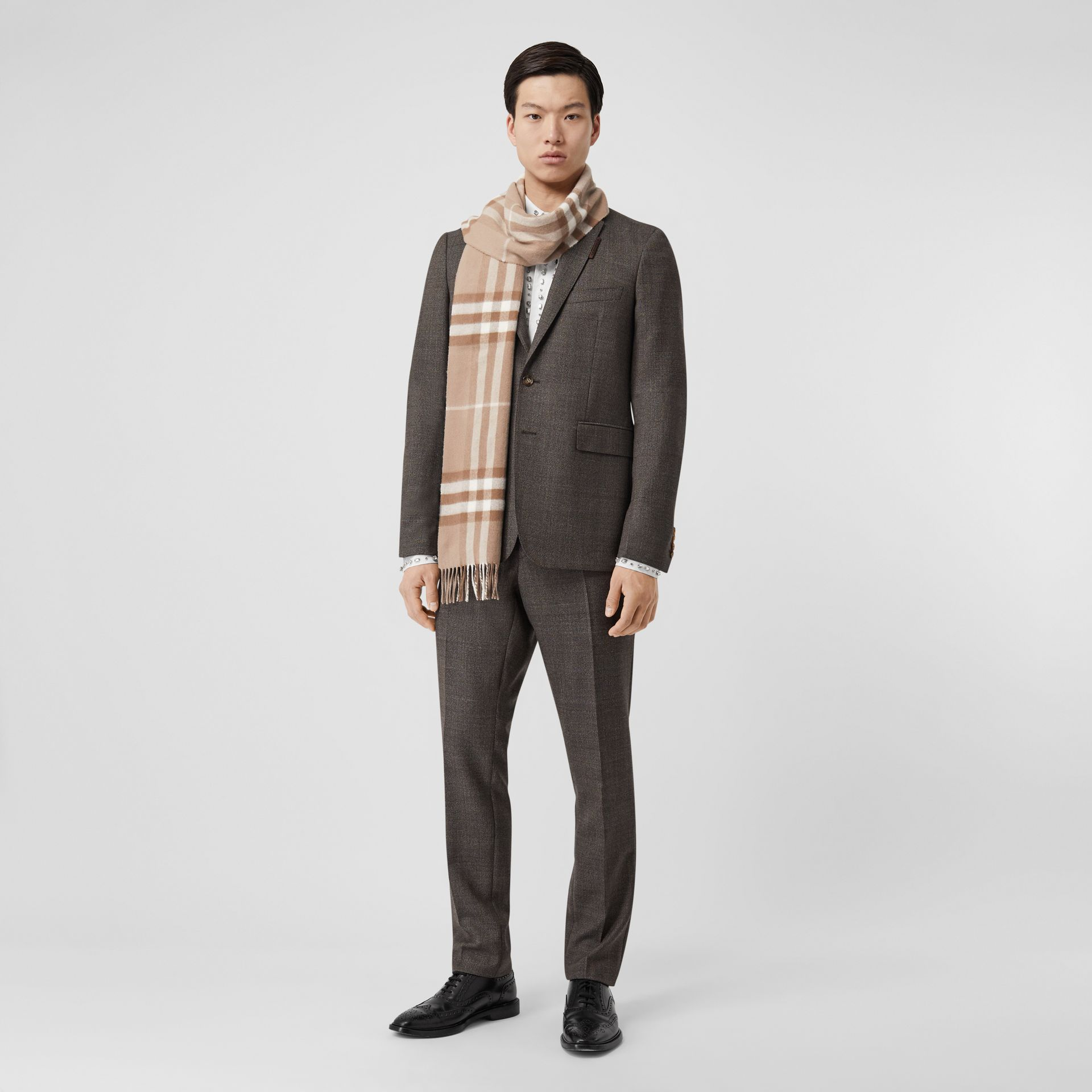 The Classic Check Cashmere Scarf in Warm Taupe | Burberry - gallery image 7