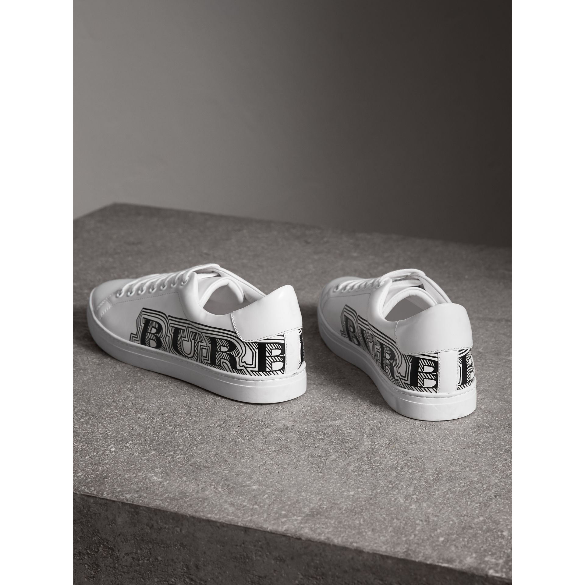 Doodle Print Leather Sneakers in Optic White - Men | Burberry United States - gallery image 3