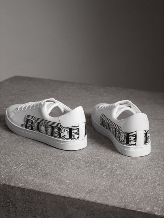 Doodle Print Leather Trainers in Optic White - Men | Burberry - cell image 3