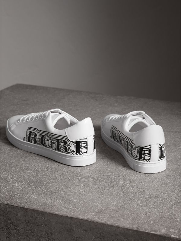 Doodle Print Leather Sneakers in Optic White - Men | Burberry - cell image 3
