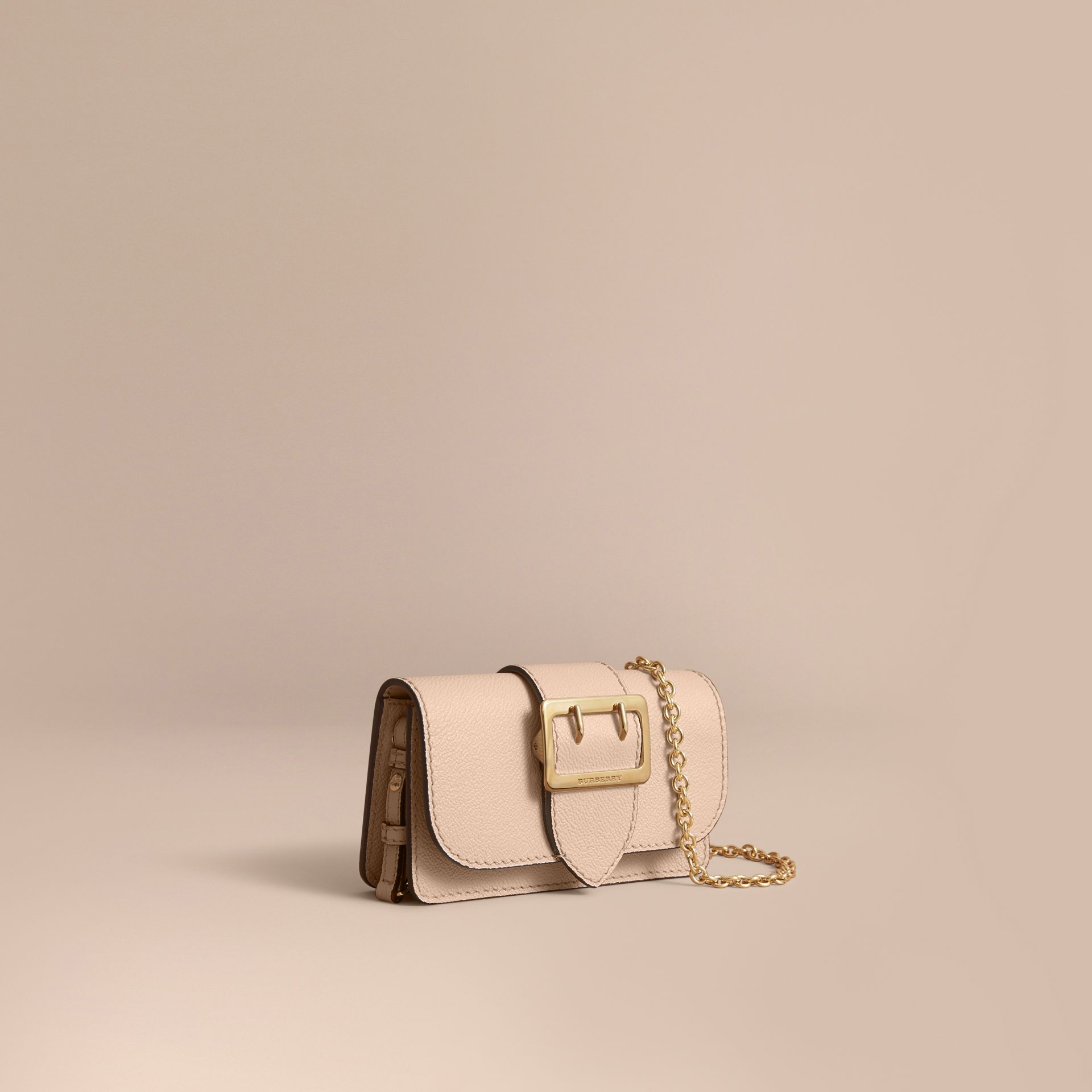 The Mini Buckle Bag in Grainy Leather in Limestone - Women | Burberry Australia - gallery image 1