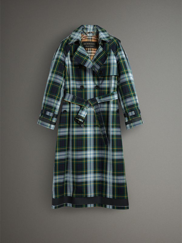 Tartan Cotton Gabardine Trench Coat in Ink Blue | Burberry - cell image 3
