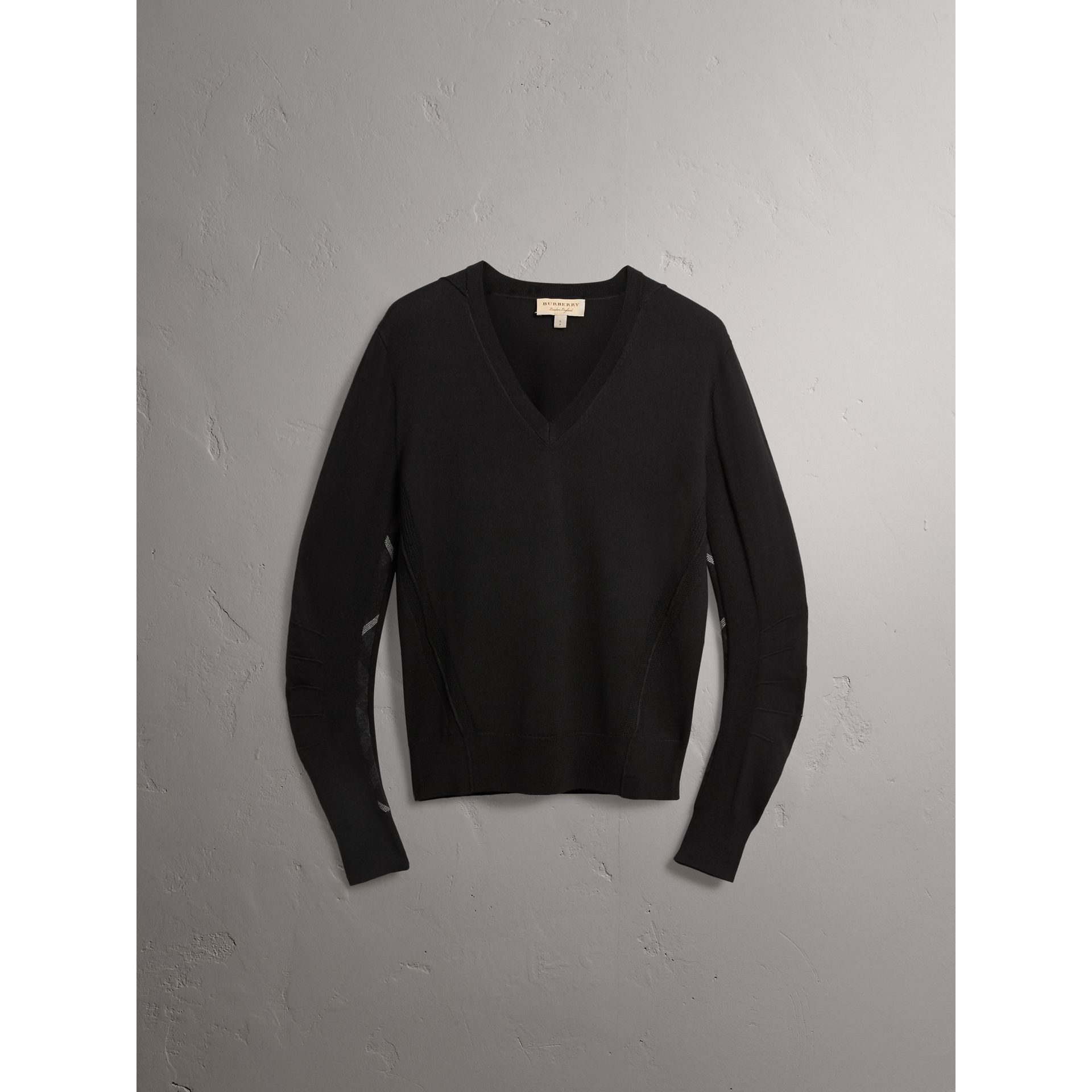 Check Detail Merino Wool V-neck Sweater in Black - Men | Burberry - gallery image 4