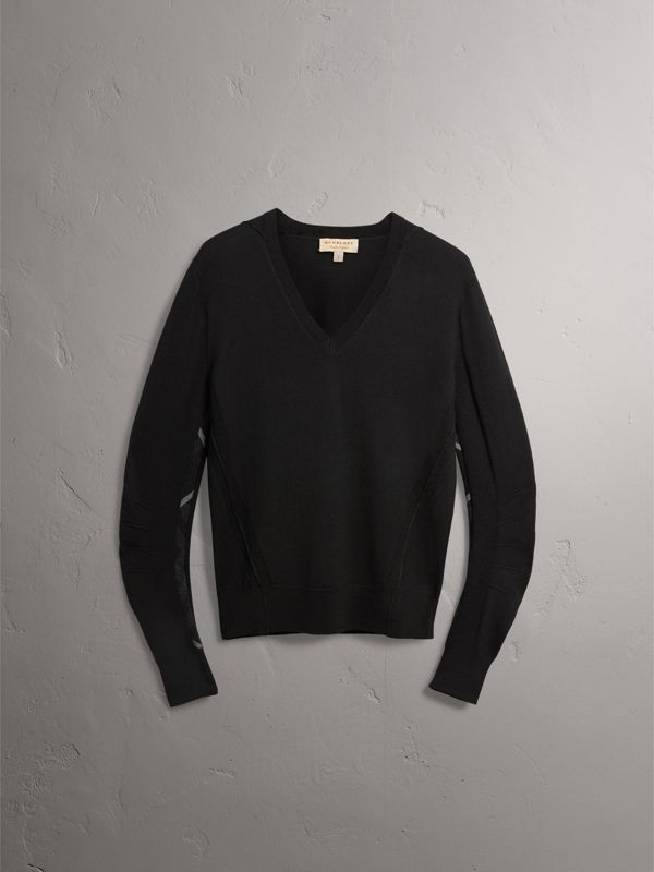 Check Detail Merino Wool V-neck Sweater in Black - Men | Burberry - cell image 3