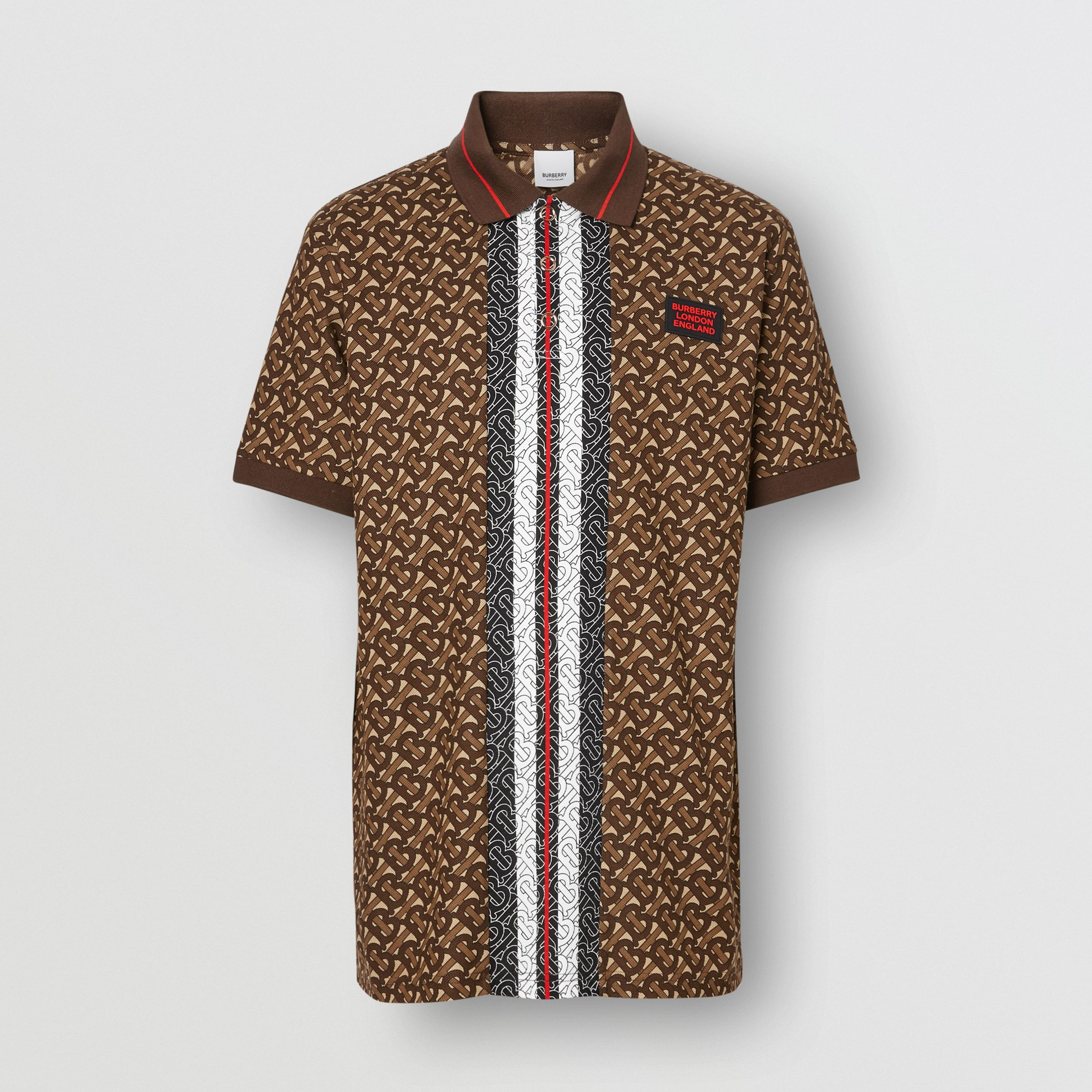 Monogram Stripe Print Cotton Piqué Polo Shirt in Bridle Brown - Men | Burberry - 4