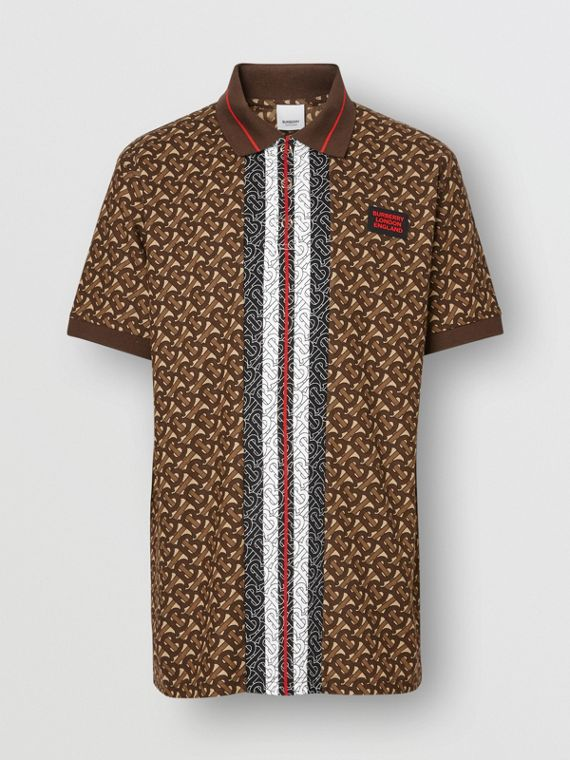 Monogram Stripe Print Cotton Piqué Polo Shirt in Bridle Brown