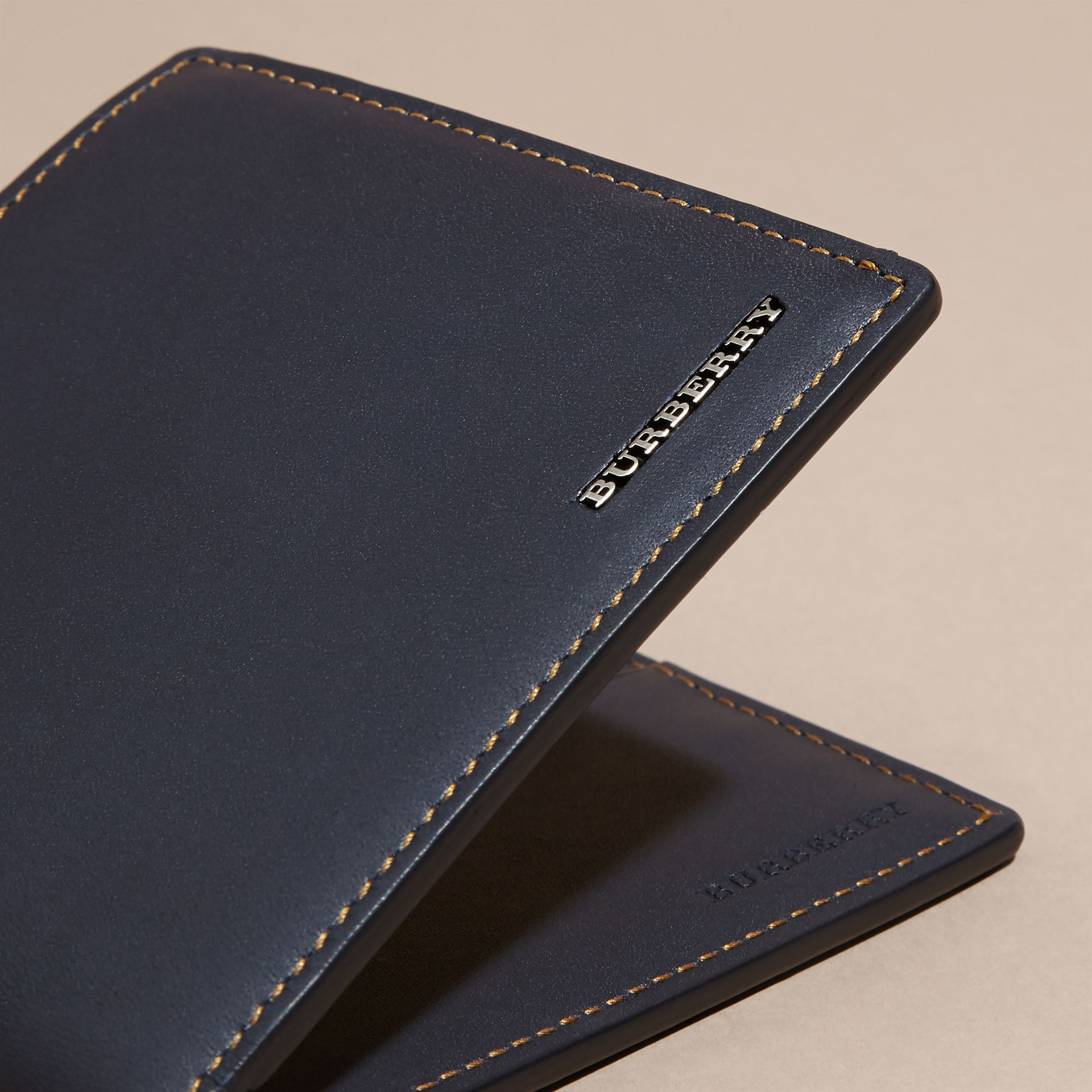 Dark navy Smooth Leather Folding Wallet Dark Navy - gallery image 2