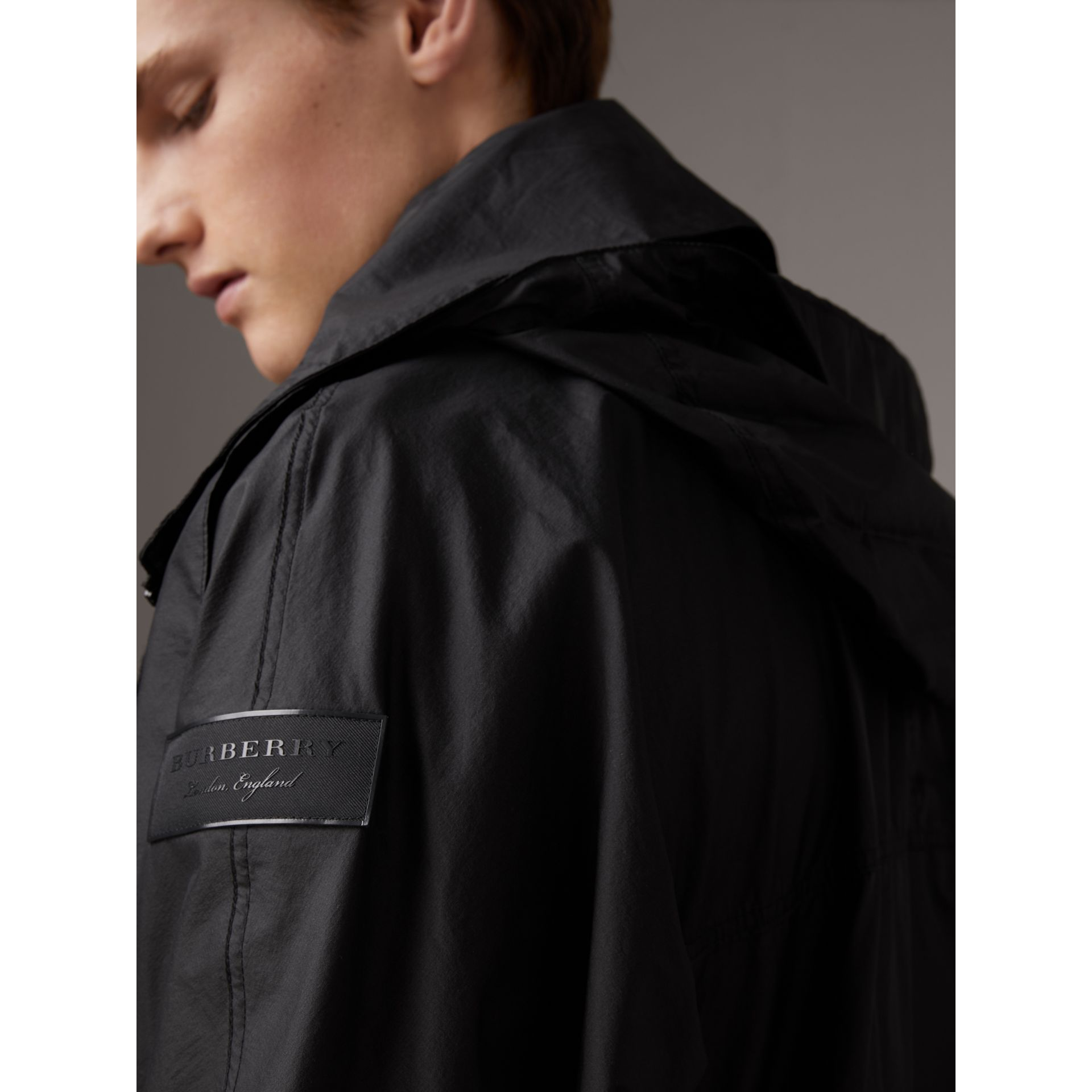 Packaway Hood Funnel-neck Jacket in Black - Men | Burberry United Kingdom - gallery image 4