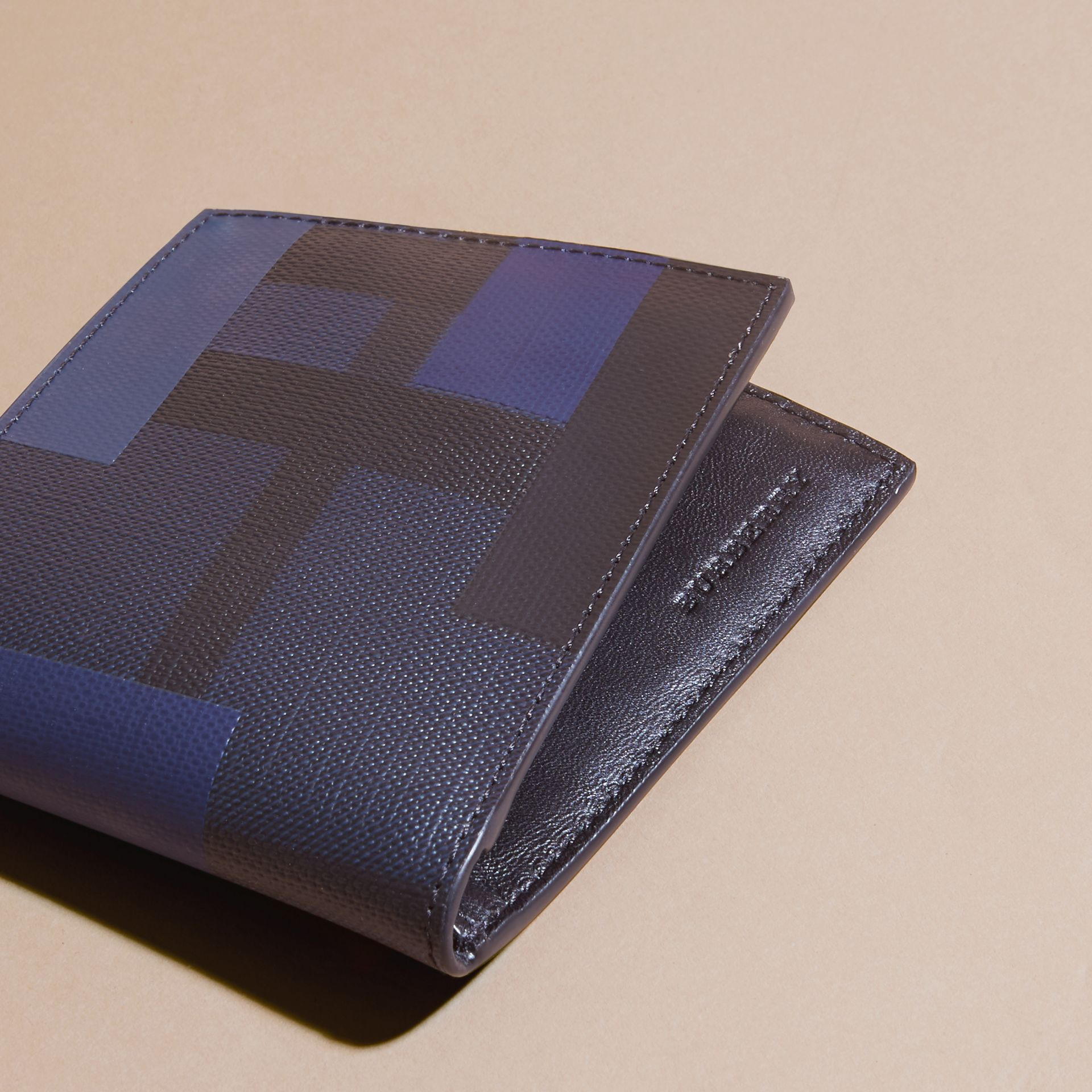 Navy/geometric Colour Block London Check Folding Wallet - gallery image 2