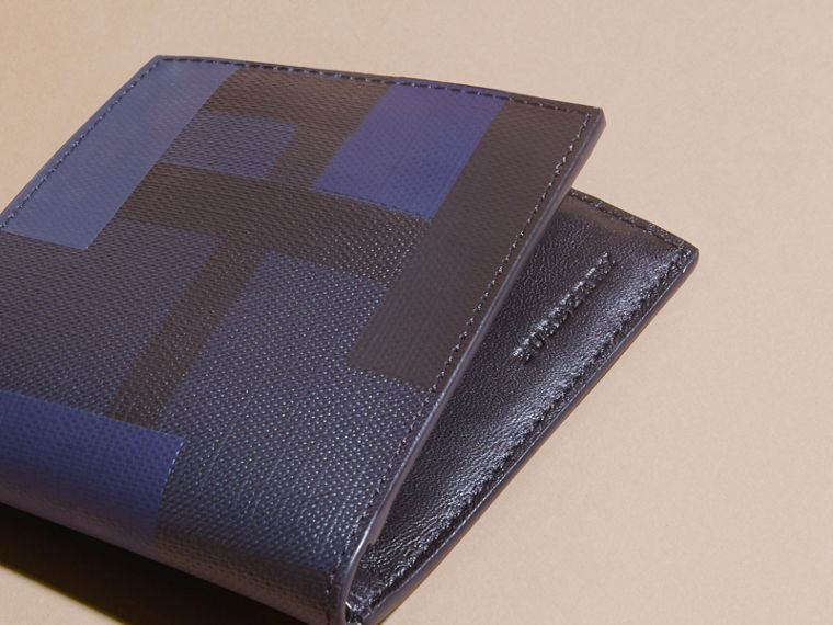 Navy/geometric Colour Block London Check Folding Wallet - cell image 1