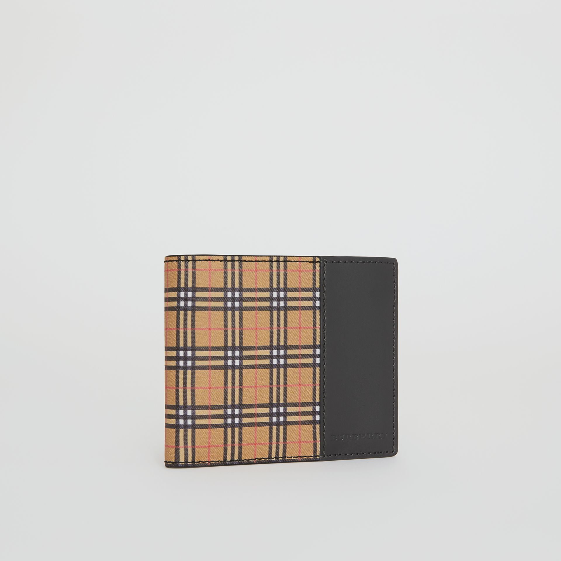 Small Scale Check International Bifold Wallet in Antique Yellow/black - Men | Burberry Singapore - gallery image 4