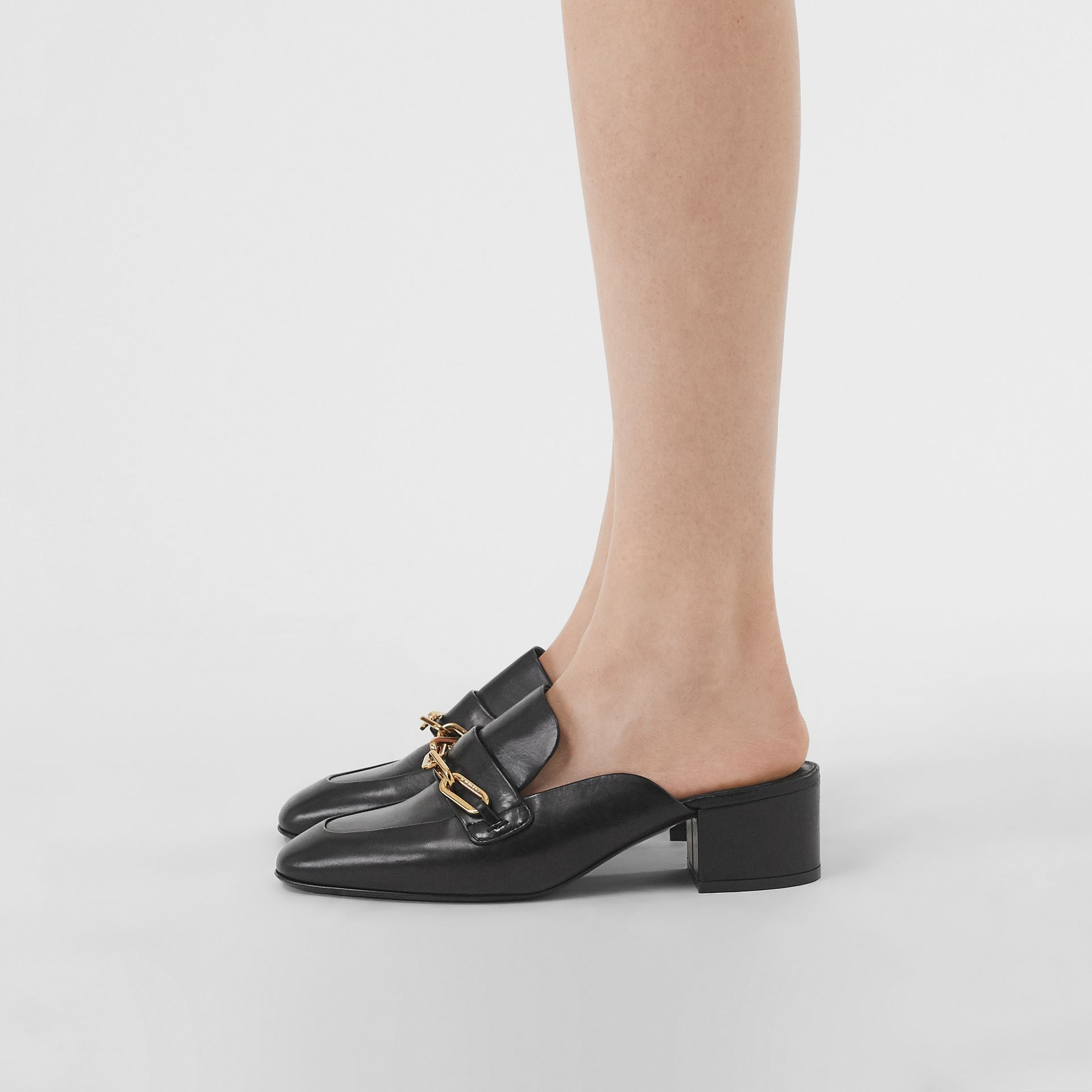 Link Detail Leather Block-heel Mules in Black - Women | Burberry United Kingdom - gallery image 2