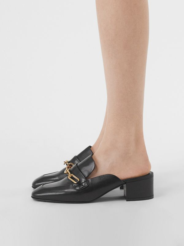 Link Detail Leather Block-heel Mules in Black - Women | Burberry Singapore - cell image 2