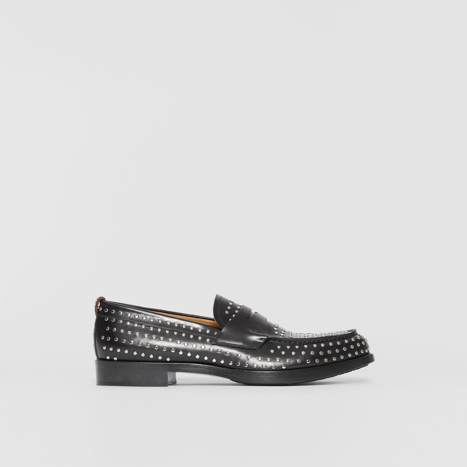 D-ring Detail Studded Leather Loafers in Black - Men | Burberry United Kingdom - gallery image 5