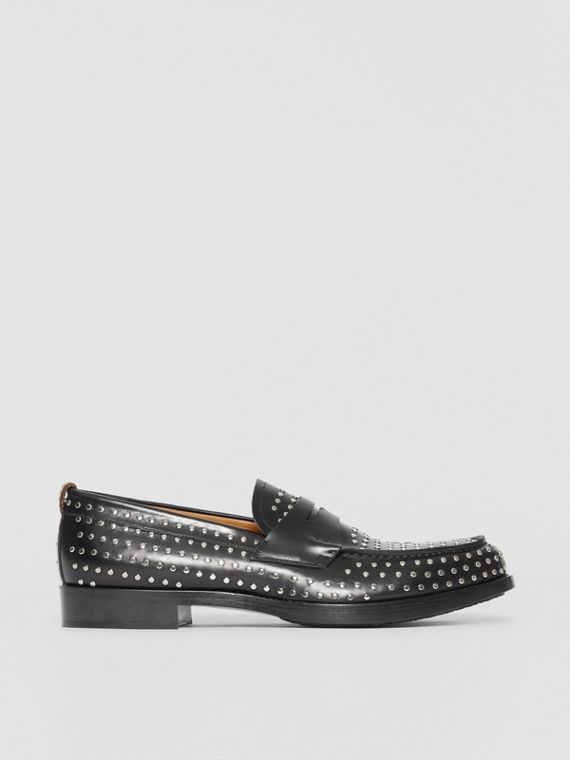D-ring Detail Studded Leather Loafers in Black