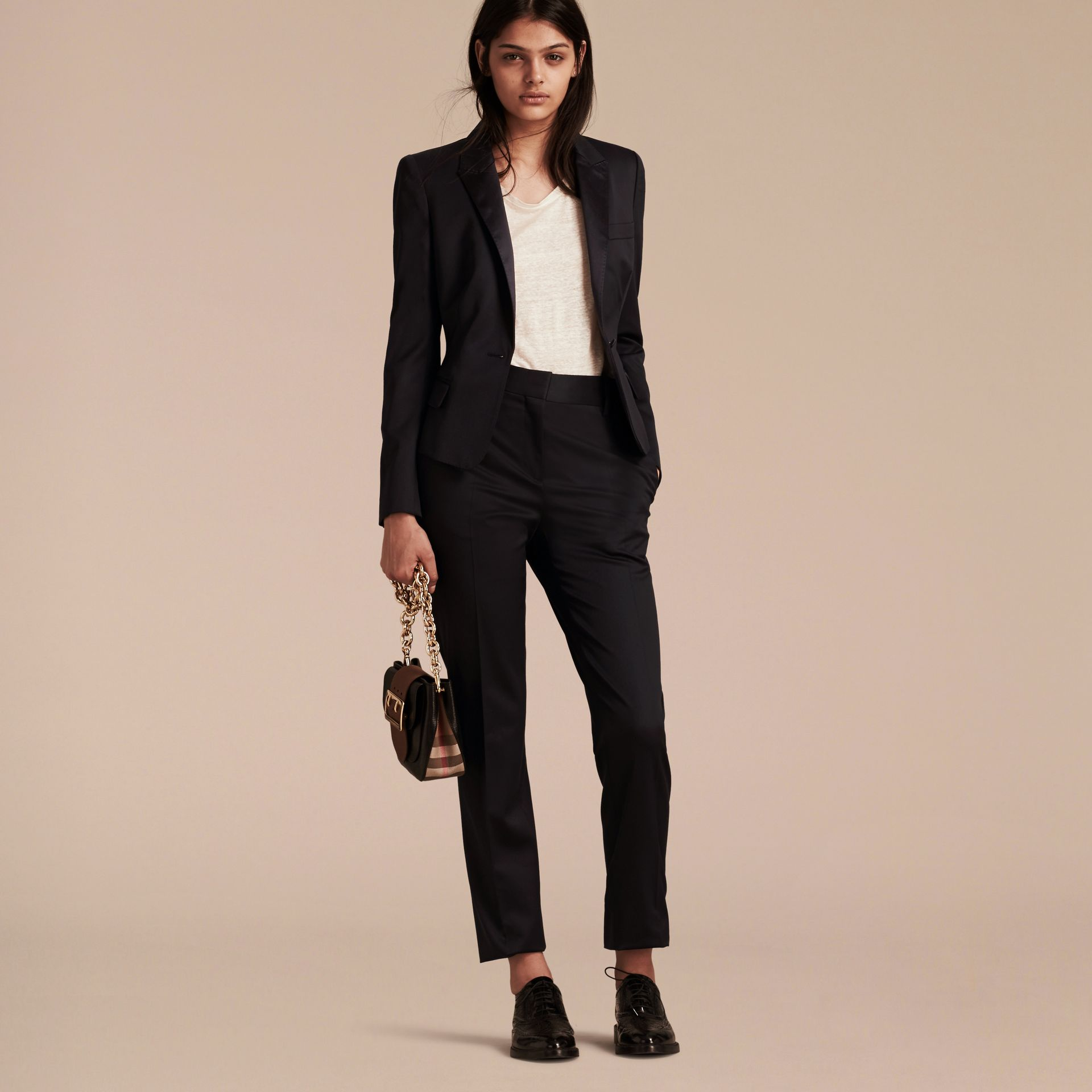 Wool Blend Tuxedo Jacket in Ink - Women | Burberry - gallery image 7