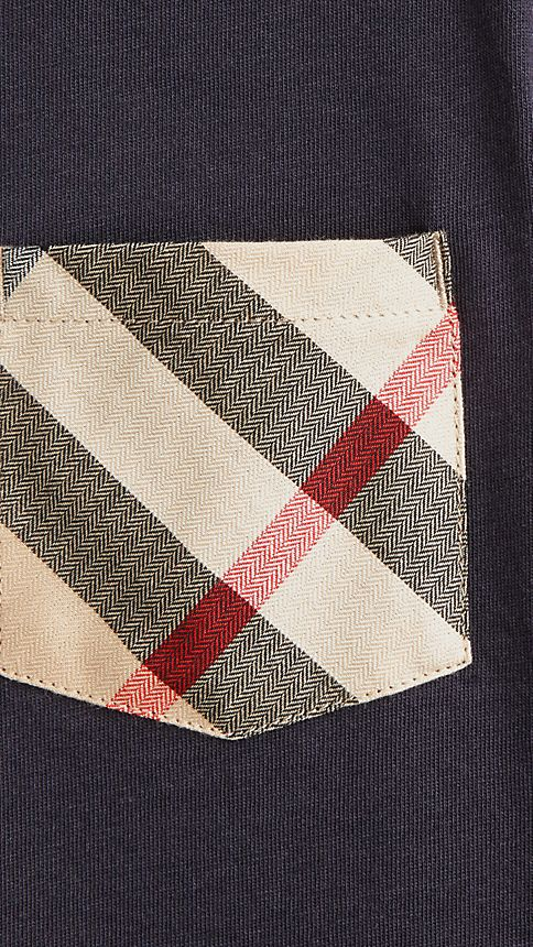 True navy Check Pocket T-shirt - Image 3