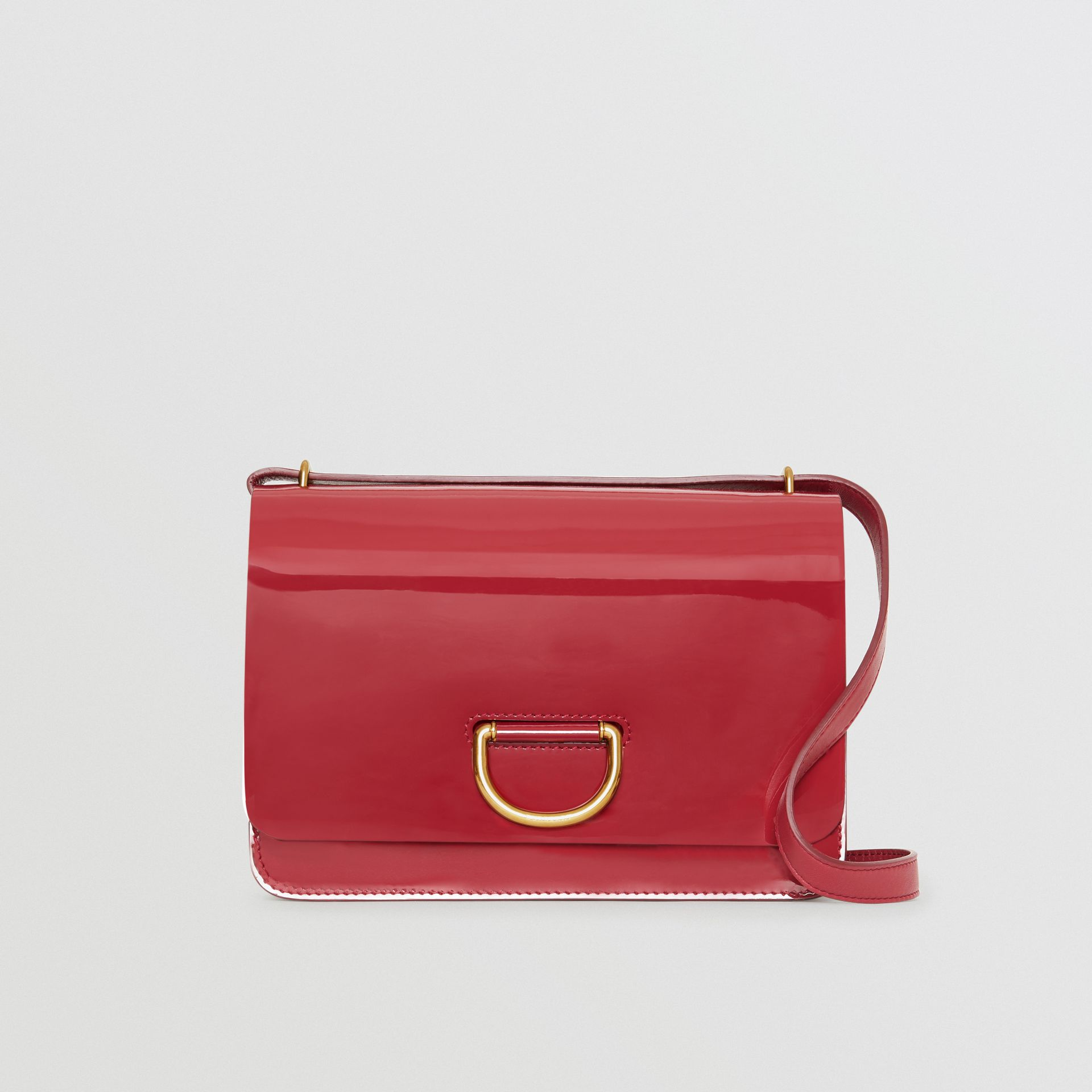 The Medium Patent Leather D-ring Bag in Crimson - Women | Burberry Australia - gallery image 0