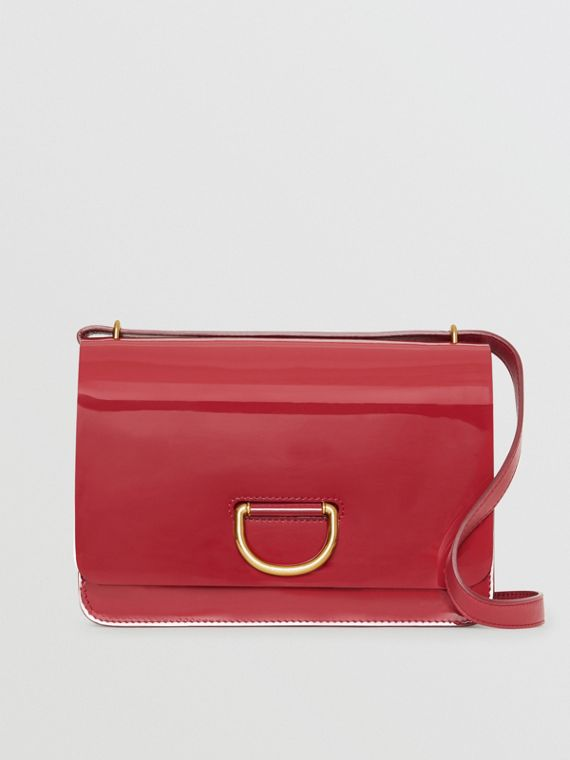 The Medium Patent Leather D-ring Bag in Crimson