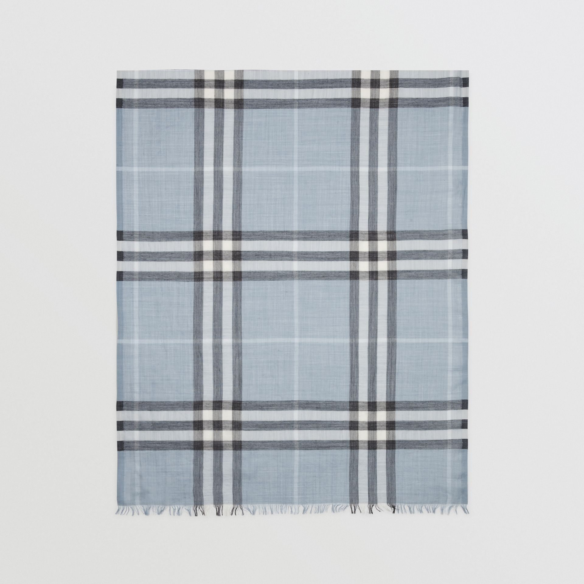 Lightweight Check Wool and Silk Scarf in Dusty Blue - Women | Burberry - gallery image 4