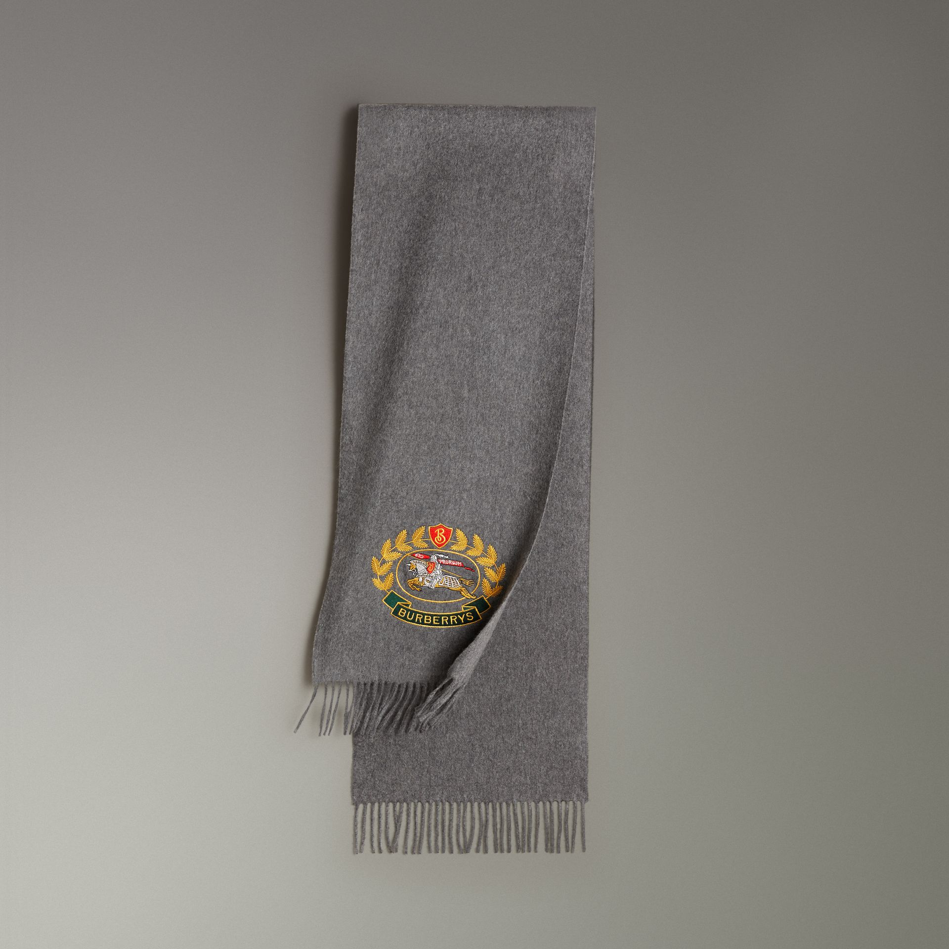 The Classic Cashmere Scarf with Archive Logo in Mid Grey | Burberry - gallery image 0