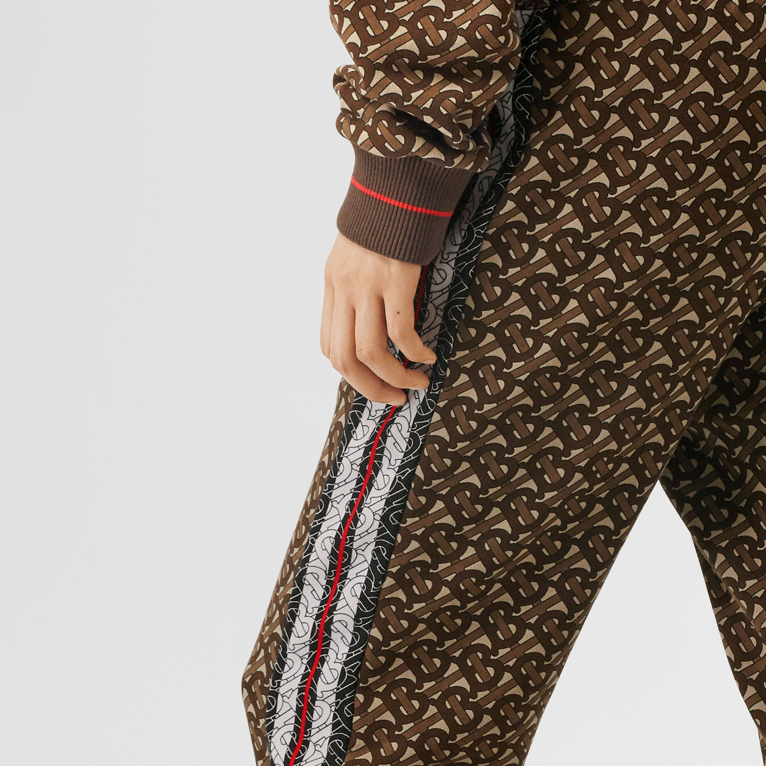 Monogram Stripe Print Cotton Trackpants in Bridle Brown - Women | Burberry - 4